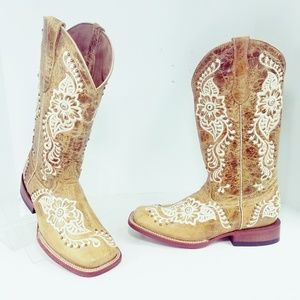 Ferrini Wild Flower Square Toe Western Boots 7.5D